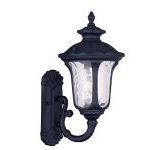 "Oxford Collection 1-Light 15"" Black Outdoor Wall Lantern with Clear Water Glass 7850-04"