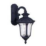 "Oxford Collection 1-Light 16"" Black Outdoor Wall Lantern with Clear Water Glass 7851-04"