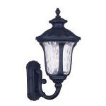 "Oxford Collection 1-Light 18"" Black Outdoor Wall Lantern with Clear Water Glass 7852-04"