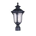 "Oxford Collection 1-Light 19"" Black Outdoor Post Head with Clear Water Glass 7855-04"