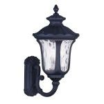 "Oxford Collection 3-Light 22"" Black Outdoor Wall Lantern with Clear Water Glass 7856-04"