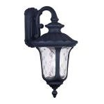 "Oxford Collection 3-Light 22"" Black Outdoor Wall Lantern with Clear Water Glass 7857-04"