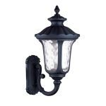 "Oxford Collection 3-Light 28"" Black Outdoor Wall Lantern with Clear Water Glass 7862-04"