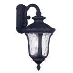 "Oxford Collection 3-Light 28"" Black Outdoor Wall Lantern with Clear Water Glass 7863-04"