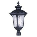 "Oxford Collection 3-Light 26"" Black Outdoor Post Head with Clear Water Glass 7864-04"