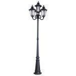 "Oxford Collection 4-Light 93"" Black Outdoor 4 Head Post with Clear Water Glass 7869-04"