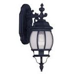 "Frontenac Collection 1-Light 7"" Black Outdoor Wall Lantern with Seeded Glass 7901-04"