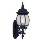 "Frontenac Collection 3-Light 8"" Black Outdoor Wall Lantern with Seeded Glass 7902-04"