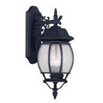 "Frontenac Collection 3-Light 8"" Black Outdoor Wall Lantern with Seeded Glass 7903-04"