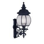 "Frontenac Collection 4-Light 11"" Black Outdoor Wall Lantern with Seeded Glass 7904-04"