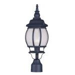 "Frontenac Collection 1-Light 7"" Black Outdoor Post Head with Seeded Glass 7905-04"