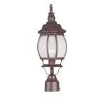 "Frontenac Collection 1-Light 7"" Imperial Bronze Outdoor Post Head with Seeded Glass 7905-58"