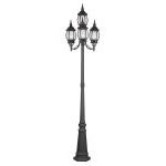 "Frontenac Collection 4-Light 22"" Black Outdoor 4 Head Post with Seeded Glass 7914-04"
