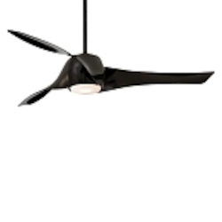 "Artemis 58"" High Gloss Black Ceiling Fan with Etched Opal Glass F803-BK"