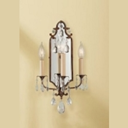 "Maison De Ville Collection 3-Light 18"" British Bronze Crystal Wall Sconce with Mirrored Backplate WB1218BRB"