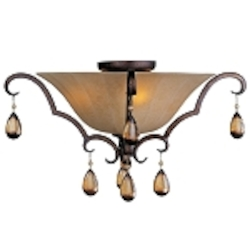 "Dresden Collection 3-Light 22"" Filbert Crystal Flush Mount with Frosted Ember Glass 22260EMFL"