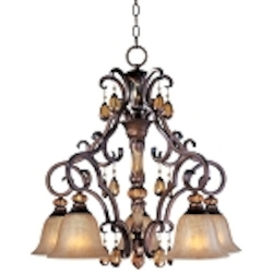 "Dresden Collection 5-Light 27"" Filbert Crystal Chandelier with Frosted Ember Glass 22264EMFL"