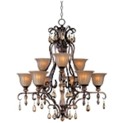 "Dresden Collection 9-Light 39"" Filbert Crystal Chandelier with Frosted Ember Glass 22266EMFL"