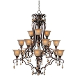 "Dresden Collection 15-Light 53"" Filbert Crystal Chandelier with Frosted Ember Glass 22268EMFL"