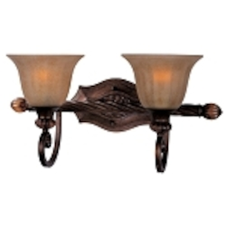 "Dresden Collection 2-Light 20"" Filbert Bath Vanity Fixture with Frosted Ember Glass 22273EMFL"