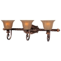 "Dresden Collection 3-Light 31"" Filbert Bath Vanity Fixture with Frosted Ember Glass 22274EMFL"
