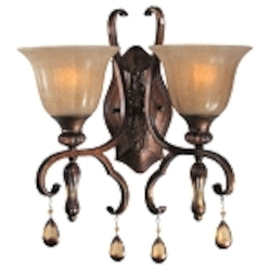 "Dresden Collection 2-Light 16"" Filbert Crystal Wall Sconce with Frosted Ember Glass 22272EMFL"