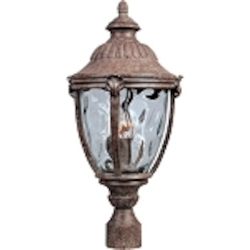 "Morrow Bay 3-Light 24"" Earth Tone Outdoor Pole/Post Mount with Water Glass 3181WGET"