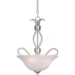 "Basix Collection 3-Light 22"" Satin Nickel Energy Star Inverted Bowl Pendant with Ice Glass 85121ICSN"