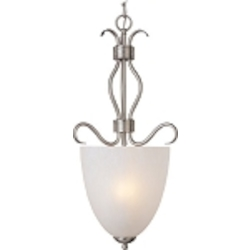 "Basix Collection 4-Light 32"" Satin Nickel Entry Foyer Pendant with Ice Glass 10131ICSN"