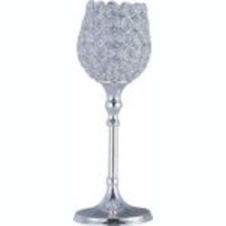 "Glimmer Collection 12"" Plated Silver Accessories Candle Holder with Beveled Crystal Glass 39891BCPS"