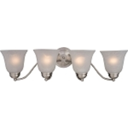 "Basix Collection 4-Light 27"" Satin Nickel Bathroom Vanity Fixture with Ice Glass 2123ICSN"
