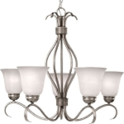"Basix Collection 5-Light 26"" Satin Nickel Chandelier with Ice Glass 10125ICSN"