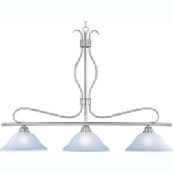 "Basix Collection 3-Light 48"" Satin Nickel Island Light with Ice Glass 10127ICSN"