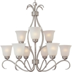 "Basix Collection 9-Light 32"" Satin Nickel Energy Star Chandelier with Ice Glass 85128ICSN"