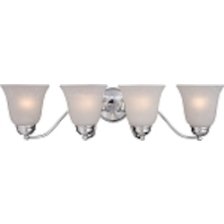"Basix Collection 4-Light 27"" Polished Chrome Bathroom Vanity Fixture with Ice Glass 2123ICPC"
