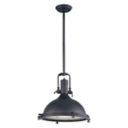 "Hi-Bay Collection 1-Light 17"" Industrial Bronze Pendant with Frosted Glass Diffuser 25109FTBZ"