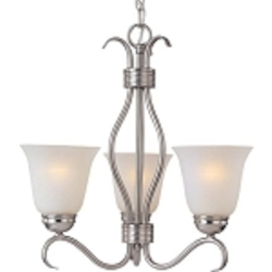 "Basix Collection 3-Light 19"" Satin Nickel Mini Chandelier with Ice Glass 10123ICSN"