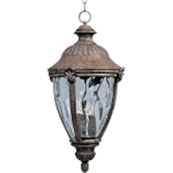 "Morrow Bay 3-Light 32"" Earth Tone Outdoor Hanging Lantern with Water Glass 3192WGET"
