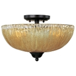 "Barcelona Collection 3-Light 14"" Oil Rubbed Bronze Semi-Flush Mount with Amber Ice Glass 13410AIOI"