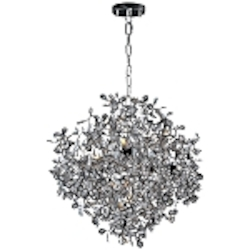 "Comet Collection 10-Light 28"" Polished Chrome Pendant Chandelier with Beveled Crystal 24205BCPC"