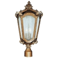 "Bastille Collection 3-Light 22"" Walnut Outdoor Post Lantern with Clear Night Glass 40220CNWN"