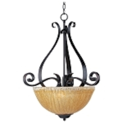 "Barcelona Collection 3-Light 26"" Oil Rubbed Bronze Bowl Pendant with Amber Ice Glass 13411AIOI"