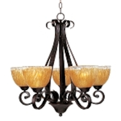 "Barcelona Collection 5-Light 26"" Oil Rubbed Bronze Chandelier with Amber Ice Glass 13415AIOI"