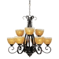 "Barcelona Collection 9-Light 32"" Oil Rubbed Bronze Chandelier with Amber Ice Glass 13416AIOI"