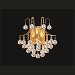 "Contour Design 3-Light 16"" Gold or Chrome Wall Sconce with European or Swarovski Crystals SKU# 15548"