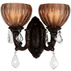 "Monaco Design 2-Light 14"" Aged Bronze Wall Sconce with Tuscan Glass and Crystal Accents SKU# 11148"
