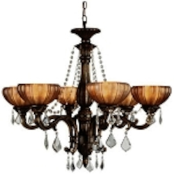 "Monaco Design 6-Light 32"" Aged Bronze Chandelier with Tuscan Glass and Crystal Accents SKU* 11149"