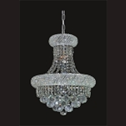 Bagel Design 8-Light 18'' Gold or Chrome Mini Chandelier Dressed with European or Swarovski Crystal  SKU# 13654