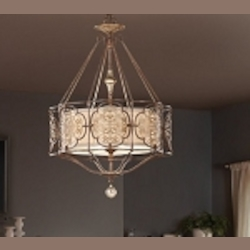 "Marcella Collection 3-Light 34"" British Oxidized Bronze Chandelier with Drum Shade F2697/3BRB/OBZ"