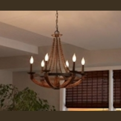 "Adan Collection 6-Light 26"" Rustic Iron Chandelier with Burnished Wood Accents F2749/6RI/BWD"